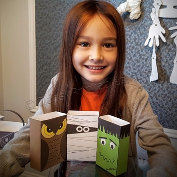 Halloween crafts treat bags with FREE fact sheet coloring pages