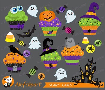 Halloween cupcake clipart  vector graphics, digital clip art