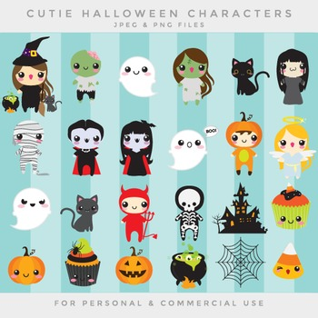 Halloween cute clip art - kawaii clipart cute whimsical vampire witch zombie