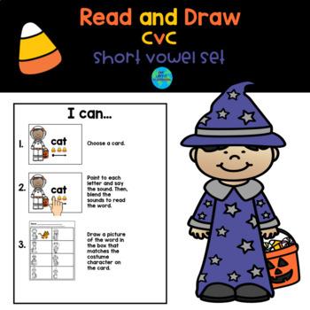 Halloween  Short Vowel cvc Task Cards