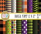 Halloween digital paper, Buffalo plaid pattern