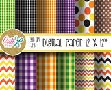 Halloween digital paper, Picnic pattern, polka, chevron