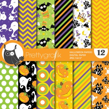 Halloween digital paper, commercial use, scrapbook papers - PS655