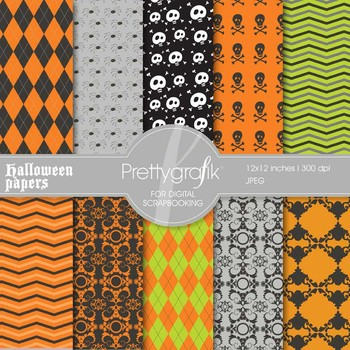 Halloween digital paper, commercial use, scrapbook papers, background - PS550