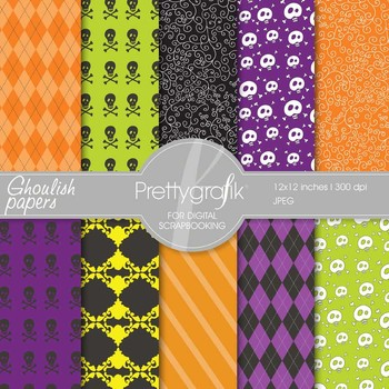 Halloween digital paper, commercial use, scrapbook papers, background - PS555