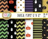 Halloween digital paper, glitter pattern, chevron, stripe