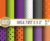 Halloween digital paper, polka pattern, seamles
