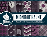 Halloween digital papers | midnight purple haunted Hallowe