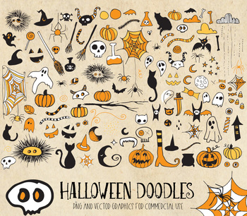 Halloween doodle clipart, hand drawn sketched png vector graphics