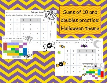 Halloween doubles and sums of 10 practice pages