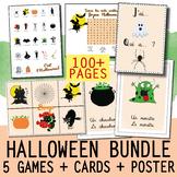 FRENCH HALLOWEEN ACTIVITY BUNDLE 5 GAMES Bingo / J'ai Qui a + WORD WALL + POSTER
