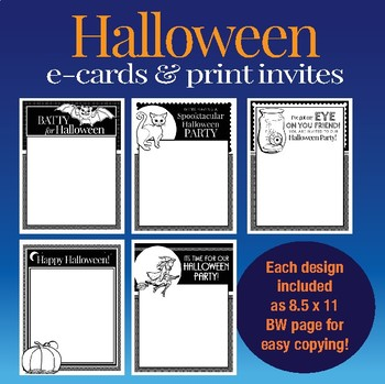 Halloween customizable e-cards, invites and flyers in color and black & white