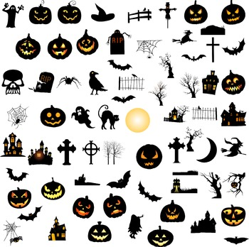 Halloween elements silhouette digital clipart