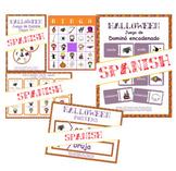 Halloween en español BUNDLE: games, word wall & flashcard