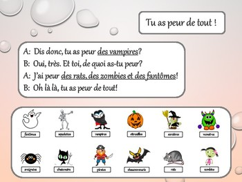 "Halloween, expression ""avoir peur de"", 2 dialogues in French"