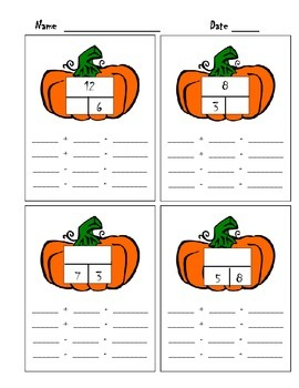 Halloween fact families!  Open ended and missing addend practice!