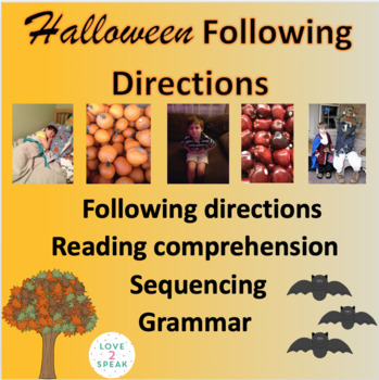 Halloween Following Directions, Reading Comprehension & Sequencing w/ Real Pics