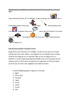 Halloween for French Grades 4 5 6 7 8