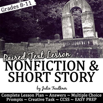 """Halloween Activities for Teens, Short Story """"Cemetery Path"""" & Paired Info Text"""