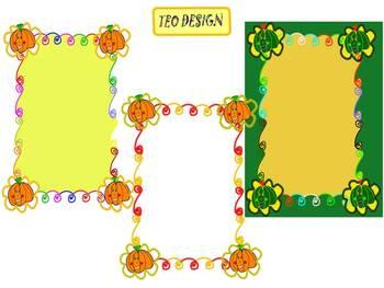 Pumpkins - Frames - Bulletin Board Decorations - Clip Art
