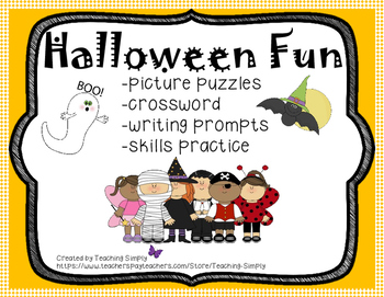 Halloween Fun - Puzzles, Creative Writing, Phonics and Skills Review