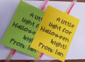 Halloween glow stick goodies template