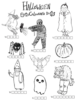 Halloween homework/ activity sheet and artwork