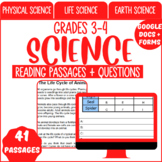 Science Reading Comprehension Passages & Questions Grade 3-4 (Digital)
