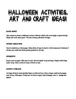 Halloween ideas and activities