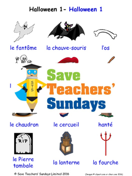 Halloween in French Worksheets, Games, Activities and Flas