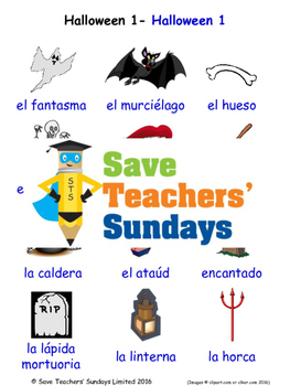 Halloween in Spanish Worksheets, Games, Activities and Flash Cards (1)