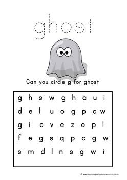 Halloween initial letter worksheets for kindergarten
