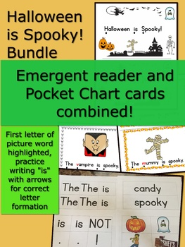 Halloween is Spooky! Bundle Emergent Reader with Pocket Chart cards