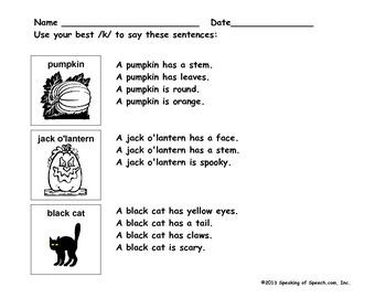 Halloween /k/ Structured Sentences