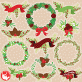 Vintage Christmas clipart commercial use, graphics, digital  - CL1181
