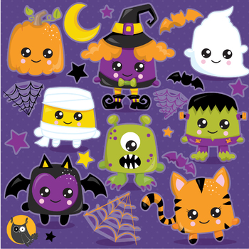 Halloween kawaii characters clipart commercial use, graphics, digital  - CL1182