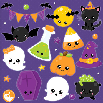 Halloween kawaii clipart commercial use, vector graphics, digital  - CL1016