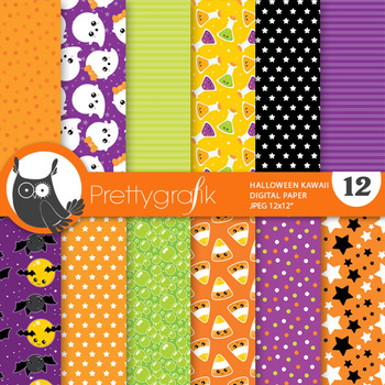 Halloween kawaii papers, commercial use, scrapbook papers - PS817