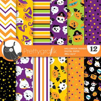 Halloween kawaii pumpkins papers, commercial use, scrapbook papers - PS819