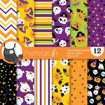 Halloween kawaii pumpkins papers, commercial use, scrapboo