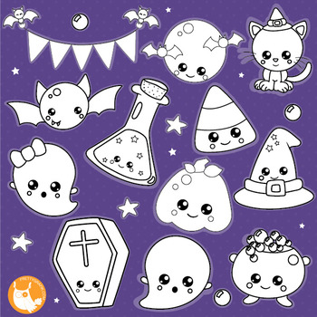 Halloween kawaiil stamps commercial use, vector graphics, images  - DS1016
