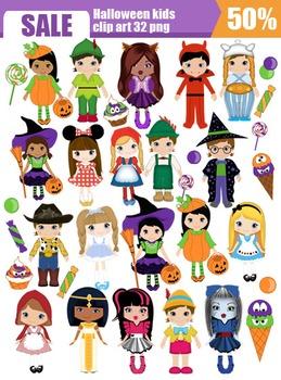 Halloween kids clip art - set 32png SALE%50