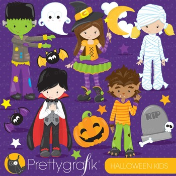 Halloween kids clipart commercial use, vector graphics, digital - CL710
