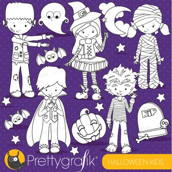 Halloween kids stamps commercial use, vector graphics, images - DS710