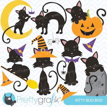 Halloween kitty cat clipart commercial use, vector graphics - CL559