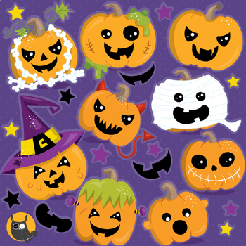 Halloween pumpkins clipart commercial use, graphics, digital  - CL1186