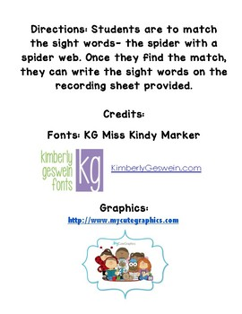 Halloween- matching sight words- Spanish (palabras frecuentes)
