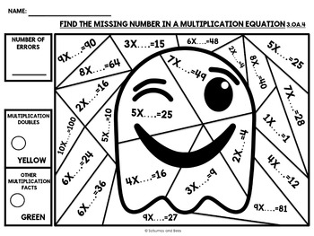 Halloween Math Activities 3rd grade {Color-by-number}