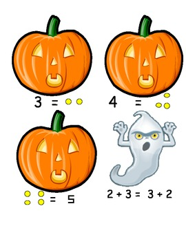 Halloween math center with the equal sign