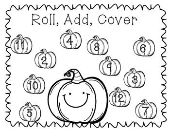 Halloween math dice games